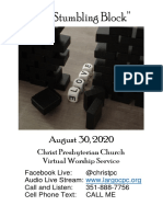 08302020 Virtual Worship Service Bulletin and Announcements