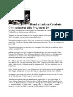 Bomb attack on Cotabato City cathedral kills five