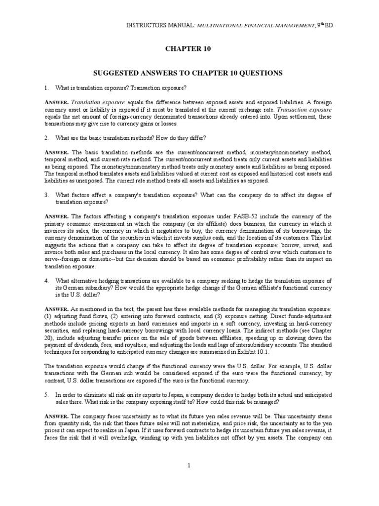 general motors transactional and translational exposures