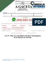 2020-08-25 Ley 1026 Digesto Juridico Nicaraguense de la Materia de Turismo 1--
