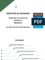 SEMANA 1 DEFINICION , TIPOS Y NIVELES DE PROYECTOS