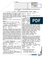 1ª Atividade Avaliativa  - Balanceamento de Equações Químicas - 1º Ano 2019