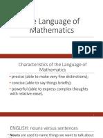 Lesson 2 The Language of Mathematics