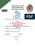 FASE DE PLANIFICACION EN EL CICLO DE LOS PROYECTOS Y PROGRAMAS