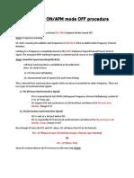 APM mode OFF procedure
