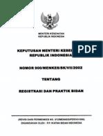 Kepmenkes Registrasi dan Praktek bidan