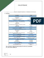 Lista de Materiais MODELO