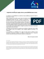 Comunicado IDEA - Argentina Necesita de Reglas Claras y Previsibilidad Para Crecer 29-08-2020