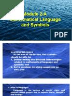 Module 2-A Mathematical Language and Symbols