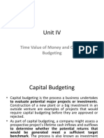 Unit IV Time Value of Money and Capital Budgeting