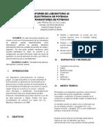 Informe electronica de potencia, Transistores