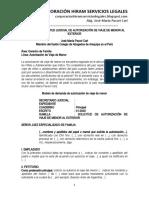 Modelo Solicitud Judicial de Autorización Viaje de Menor - Autor José María Pacori Cari