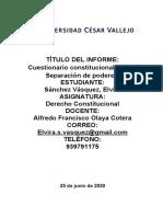 CUESTIONARIO DE CONSTITUCIONALISMO Y SEPARACIÓN DE PODERES