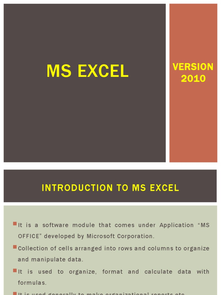 MS EXCEL notes.pptx   Microsoft Excel   Spreadsheet