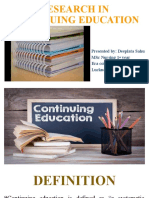 RESEARCH IN CONTINUING EDUCATION