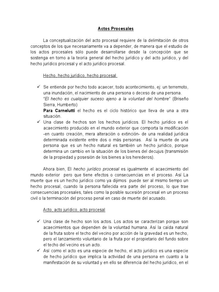 Hechos y actos procesales pdf