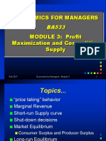 Lecture 3 Profit Maximisation and Competitive Supply