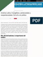 América Latina. Evangélicos, pentecostales y neopentecostales