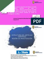 ESTRUCTURA DEL ARTÍCULO CIENTÍFICO DE RESEÑA DE INVESTIGACIÓN - Pamela Sonia Bautista Valle
