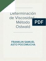 Determinación de Viscosidad - Metodo de Ostwald
