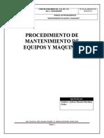 Procedimientos de mantenimiento a equipos y maquinas