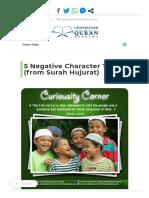 5 Negative Character Traits (from Surah Hujurat) - Understand Al-Qur'an Academy