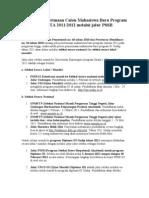 Informasi Penerimaan Calon Mahasiswa Baru Program S1 UNDIP TA 2011