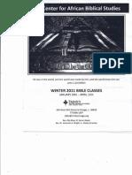 Winter 2011 Bible Class Schedule