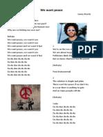 We Want Peace Paroles