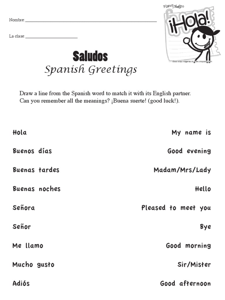 Printables Spanish Greetings Worksheets Jigglist Thousands of – Spanish Greetings Worksheet