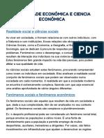 A atividade económica e a ciência económica