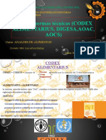 CODEX ALIMENTARIUS, DIGESA, AOAC, AOCS