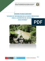 INFORME TECNICO SANITARIO DE TRATABILIDAD DE AGUA CRUDA