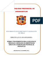 Directiva para Ejecución de Obras Bajo la Modalidad de Administración Directa