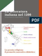 La letteratura italiana nel 1200