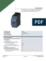 Data Sheet de un guardamotor SIEMENS linea nueva  tamaño S2