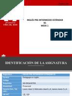 Week 1 - PART 1 - INGLÉS PRE-INTERMEDIO ESTÁNDAR  B1