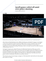 Nba Players Boycott Playoffs Article and Questions