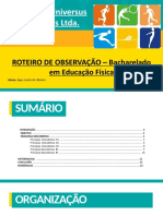 ROTEIRO DE OBSERVAÇÃO – Bacharelado em Educação Física