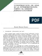 MONTORO, Ricardo - Hacia la construcción de una teoría de la interpretación, en torno al debate Habermas - Gadamer (1)
