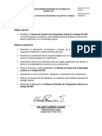 SST-O-01 OBJETIVOS DE LA POLITICA DE SEGURIDAD Y SALUD EN EL TRABAJO