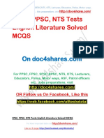 FPSC, PPSC, NTS Tests English Literature Solved MCQS