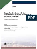 [E] Especificación del modelo de simulación dinámica del sistema solar fotovoltaico genérico