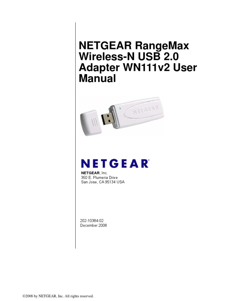 Netgear wn111v2 rangemax 300mbps wifi wireless-n usb 2. 0 lan.
