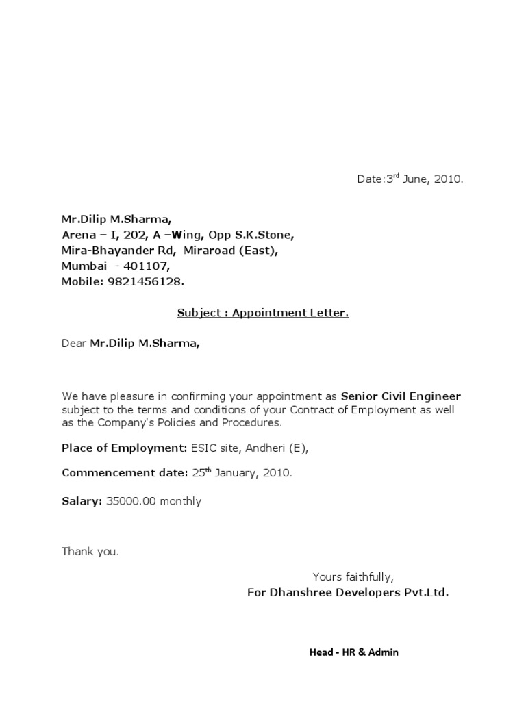 Appointment letter dilip sharma altavistaventures Image collections