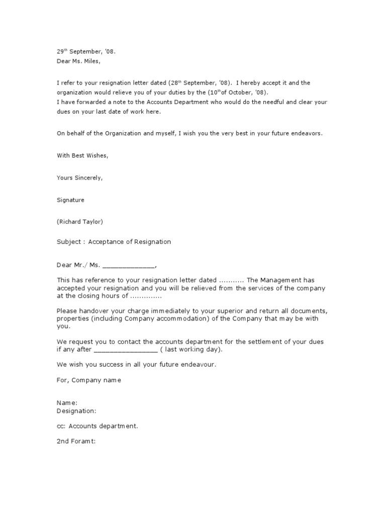 23Resignation Acceptance Letter Employment – Response to Resignation Letter
