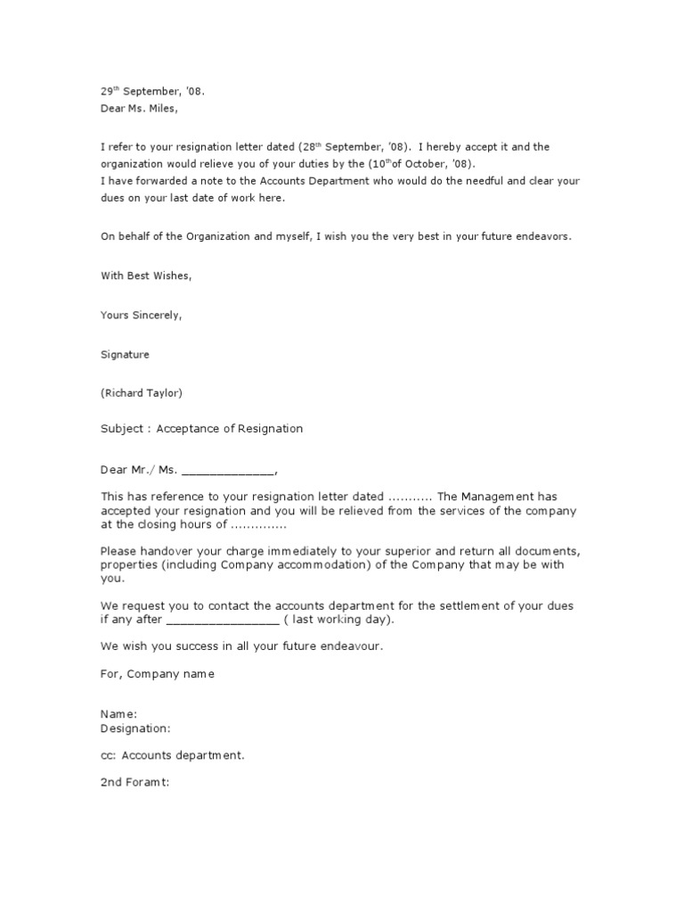 Free Resume sample letter informing clients of employee resignation : 23.Resignation Acceptance Letter | Employment | Business