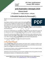 JEE Main 2020 April-September Attempt Shift-2 (02nd September, 2020) Detailed Analysis