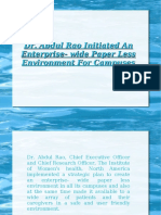 Dr. Abdul Rao Initiated An Enterprise