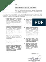 1. POLITICA DE SEGURIDAD Y SALUD EN EL TRABAJO